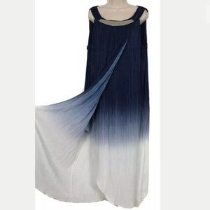 Catherine's Blue to White Crinkle Maxi Dress 2X